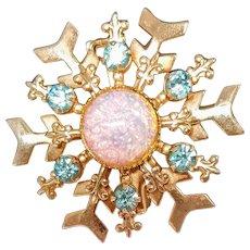 Vintage Opal Snowflake Rhinestone Pin Brooch Holiday Snow Winter Jewelry Pink Blue Christmas