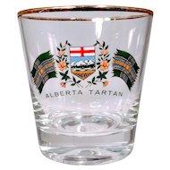 Vintage Lowballs Canada Tartan Alberta Barware Whiskey Glasses Bar Set of Four Flag Plaid Scotland Scottish