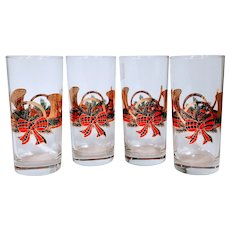 Vintage Culver Christmas Wreath Horn Glasses Bar Barware Yule French Tartan Bow Highball Tall Holiday Drinking Glass Gold