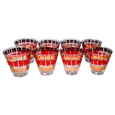Vintage Fred Press Cocktail Glasses Set 8 Red Gold Crown Double Shot Whiskey Alcohol Bar Barware Man Cave Holiday