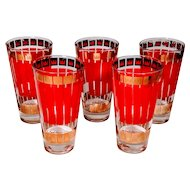Vintage Fred Press Cocktail Glasses Set 5 Red Gold Crown Tumblers High balls Alcohol Bar Barware Man Cave Holiday
