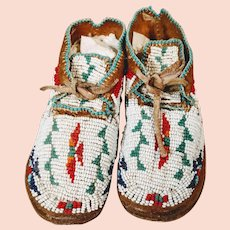 Vintage Native American Child Moccasins Beaded Thunderbird Plains Indian Buffalo Track Antique Bead Cheyenne Plains Indian 19th Century