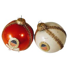 Vintage Christmas Patriotic America Ornaments Flag Red White Blue American USA
