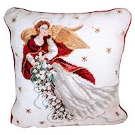 Vintage Needlepoint Christmas Angel Pillow Velvet Holiday Winter Bedding Cherub Red