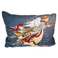 Vintage Needlepoint Christmas Angel Pillow Velvet Holiday Winter Bedding Cherub Blue Candle Night Sky