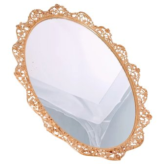 Vintage Matson Dressing Mirror Massive Dresser Ormolu French Roses Floral Oval Signed Shabby Chic Hollywood Regency