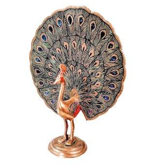 Vintage Brass Peacock Mid Century Figure MCM Bird