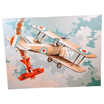 Vintage Paint By Number Airplane PBN Bomber Planes Biplanes Dog Fight Art Picture  1950s Mid Century