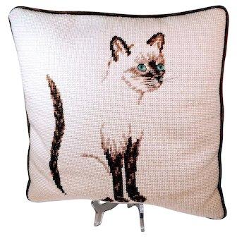 Vintage Siamese Cat Pillow Needlepoint Kitty Velvet Kitschy Mid Century Asian Kitten