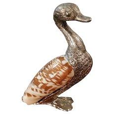 Vintage Shell Duck Silver Metal Figurine Decor Animal Bird Sculpture