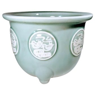 Vintage Gumps Celadon Asian Mid Century Porcelain Jardiniere Flower Pot Planter San Francisco California Ducks