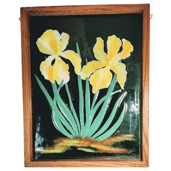 Vintage Fused Enameled Glass Framed Window Art Iris Flowers Floral Yellow Dichroic Suncatcher Artist Signed