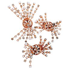 Vintage Hattie Carnegie Milk Glass Brooch Earrings Pin Spray Cosmic Signed Fireworks Retro 1960 Prom Wedding