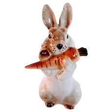 Vintage Russian  Lomonosov Rabbit Bunny Carrot Porcelain Figurine Imperial Hare