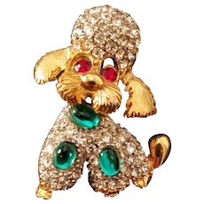 Vintage Poodle Brooch Pin Dog Jelly Belly Jewelry Puppy  Animal