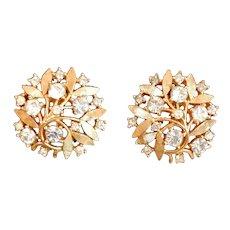 Vintage Crown Trifari Rhinestone Earrings Gold Tone Crystal Organic Leaf Clip Jewelry Mid Century