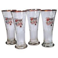 Vintage Beer Glasses Hovels Bitter Bier Original Brewery Germany German Set 4 Pilsner