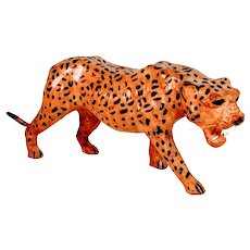 Vintage Leather Leopard Figure Cheetah African Animal Sculpture Wildlife Wild Cat Africa Faux