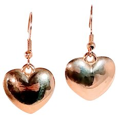 Vintage Heart Gold Tone Earrings Puff 3D Pierced Valentines Love Jewelry