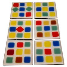 Vintage Coasters Modern Art Glass Artist Signed Square Fused Glass Set of Six