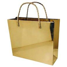 41a1e4091ae4 Vintage Brass Shopping Bag Tote Magazine Holder Purse Umbrella Stand Mid  Century