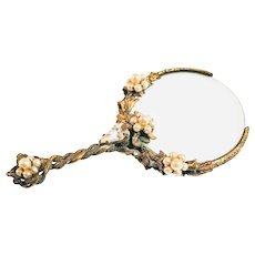 Vintage Victorian Magnifying Glass Jeweled Faux Pearl Brass Miniature Mini Small Loupe