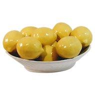 Vintage Lemon Bowl Italy Italian Majolica Fruit Pottery Porcelain