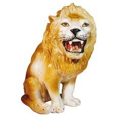 Vintage Lion Italian Terra Cotta Italy Statue Figurine Glazed African Pottery Animal Ceramic