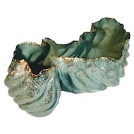 Vintage Hedi Schoop Bowl California Organic Porcelain Gold Turquoise Planter Mid Century
