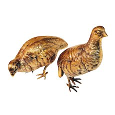 Vintage Brass Bird Partridge Quail Game Figurine Fowl Grouse Pheasant Bobwhite Mid Century Pair