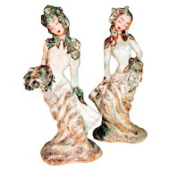 Vintage Hedi Schoop California Geisha Women Hollywood Ladies Dancer Planter Vase Dancing Porcelain Gold Turquoise