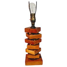 Vintage Lamp Wooden Stacked Brass Mid Century Stacked Blocks Danish Floating