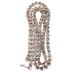 """Vintage Rhinestone Necklace 36"""" Large Over-Sized Crystal Single Strand Rope Hollywood Prom Wedding"""