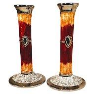 Vintage Haldon Candlesticks Pottery Faux Wood Silver Crest Candle Holder Pair Japan Majolica