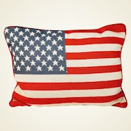 Vintage Needlepoint Pillow Flag American Patriot Red White Blue Stars Stripes