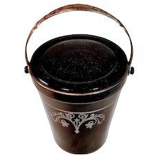 Vintage Amethyst Black Glass Silver Ice Bucket Overlay Barware Bar Depression Glassware Art Deco
