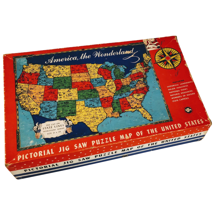 Vintage Puzzle United States Map America Game Jig Saw State Capitols ...