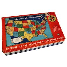 Vintage Puzzle United States Map America Game Jig Saw State Capitols National Parks