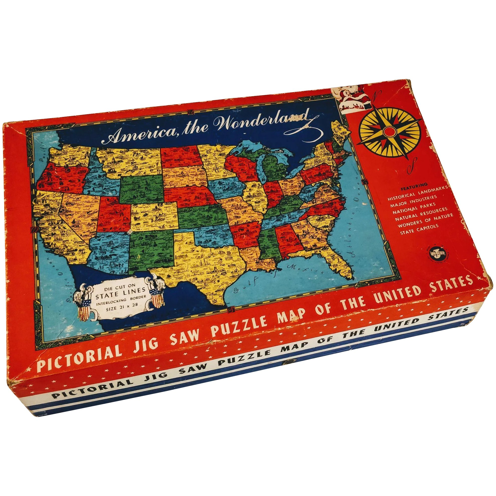 Vintage Puzzle United States Map America Game Jig Saw State Capitols on united states map poster, united states map color, united states map 1860,