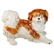 Vintage Dog Figurine Ceramic Statue Pekingese Spaniel Cavalier King Charles Pup Puppy Pottery Italian