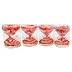 Vintage Georges Briard Red Geometric Rocks Old Fashion Retro Barware Glasses Design MCM Mid Century White