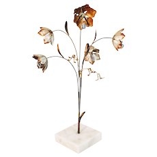 Vintage Brutalist Flower Mid Century Marble Sculpture Art Italy Italian Floral Bouquet