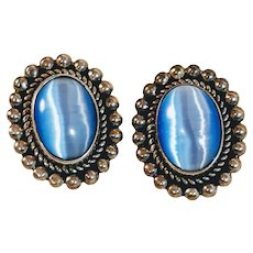 Vintage Moonstone Mexico Sterling Earrings Blue Artist Signed Mid Century Silver