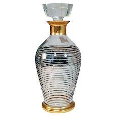 Vintage Gold Decanter Barware Liquor Rimmed Silver Stripe Glass Bottle Mid Century Glass