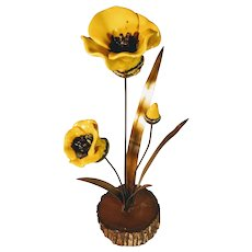 Vintage Floral Sculpture California Winifred Cole Copper Wood Enamel Yellow Poppies Poppy