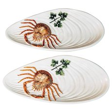 Vintage Crab Plates Pair Italy Seafood Italian Serving Nautical Oyster Majolica