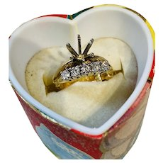 "Vintage 14k prong set diamond band and 1/3 caret stone mount "" arthritis"" wedding ring band"