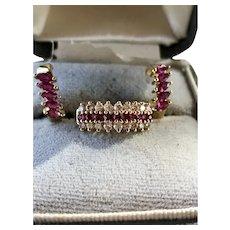 Ruby Diamond & 14k Gold chevron Cocktail Ring & Earrings