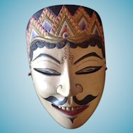 Vintage Hand Carved and Painted Javanese Mask