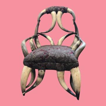 Antique Victorian Texas Child's Horn Chair